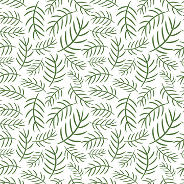 Simple vector pattern for winter and Christmas product design with green cartoon pine branches