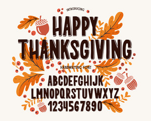 Font thanksgiving day. Typography alphabet with colorful autumn illustrations.