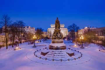 Saint Petersburg. Russia. Catherine 2. Tsarist Russia. Panorama of winter St. Petersburg. Cities of Russia in the winter. Sights of St. Petersburg. Monument. Night city. Russian Federation