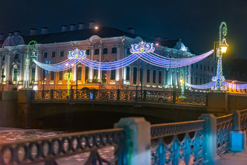 Saint Petersburg. Russia. Christmas holidays in St. Petersburg. Nevsky Avenue. New Year decorations of the city. Christmas illumination. Winter Russia. Neva. Christmas holidays in Russia.