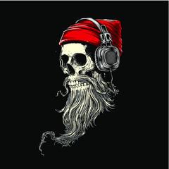 skull with santa hat TSHIRT DESIGN