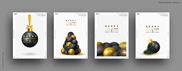 Merry Christmas and Happy New Year. Festive background with round Xmas balls, Christmas tree, pine shape. Realistic decorative design elements. Set Poster, cover, banner. Vector 3d object black color