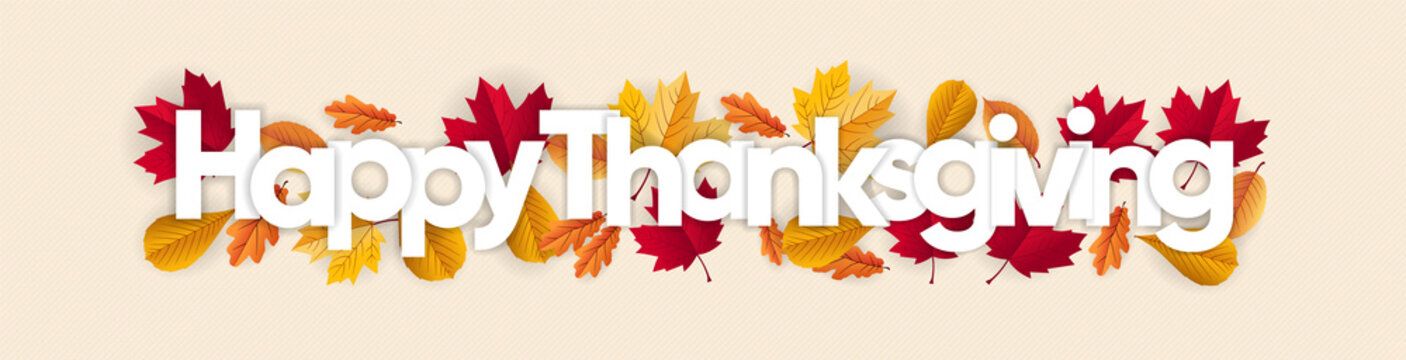 happy thanksgiving banner with dried leaves decoration