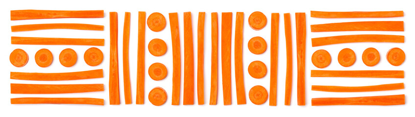 Creative layout of sliced carrot. Vegetable pattern. Food background isolated over white. Flat lay, top view. Banner..