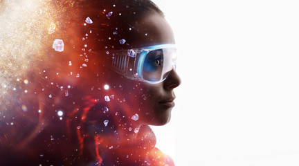 Wall Mural - Double exposure of female face on white background. Abstract woman portrait. Digital art. Girl in glasses of virtual reality. Augmented reality, dream, future technology, game concept. Fire flares.