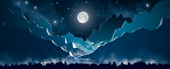 Full moon on the night sky with stars above the blue mountains. The forest at the first plane with smoke clouds above it. Vector illustration.