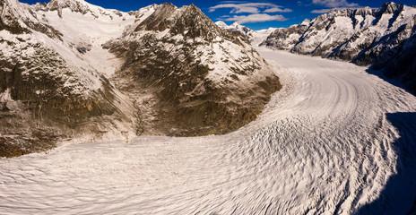 Bend of Aletschgletscher glacier in Valais alps