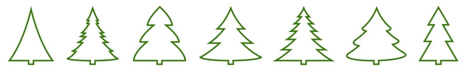 Christmas Tree Green Shape Icon | Fir Tree Illustration | x-mas Symbol | Logo | Isolated Variations