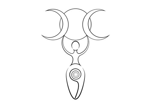 spiral goddess of fertility and triple moon wiccan. The spiral cycle of life, death and rebirth. Woman wicca mother earth symbol of sexual procreation, vector tattoo sign icon isolated on white