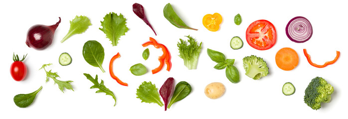 Fotorolgordijn Verse groenten Creative layout made of tomato slice, onion, cucumber, basil leaves. Flat lay, top view. Food concept. Vegetables isolated on white background. Food ingredient pattern.