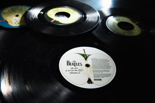 Valencia, Spain - October 28, 2019: Old vinyl records by the publisher Apple for the Beatles.