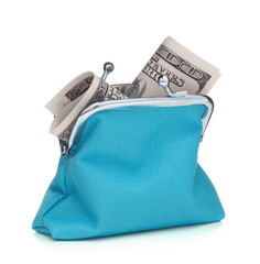 Blue cash wallet isolated on white background. Charge purse with hundred dollar banknote. Coin wallet.