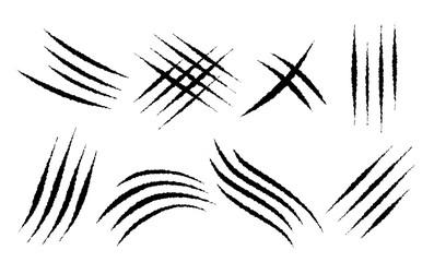 Obraz Claw scratches mark set. Vector scrape track. - fototapety do salonu