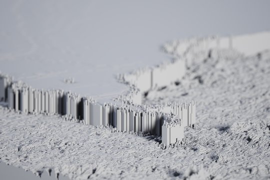 big wall voxel monochromatic computer generated illustration