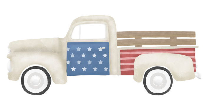 American Patriotic Vintage Farm Truck