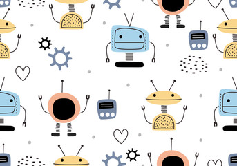 Estores personalizados con tu foto Funny robots seamless pattern with scandinavian drawing style. Robot hand drawn colorful cyborg character. Vector illustration for kids and baby apparel fashion textile print.