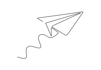 Continuous one line drawing of paper airplane. Concept of plane flying symbol of creativity and freedom.