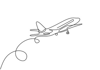 Continuous one line drawing of airplane jet transportation theme. Concept of travel vacation design vector illustration minimalism style. Fotobehang