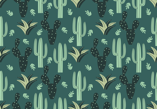 Trendy cactus seamless pattern with floral drawing style. Jungle green colors theme. Vector illustration for kids and baby apparel fashion textile print.