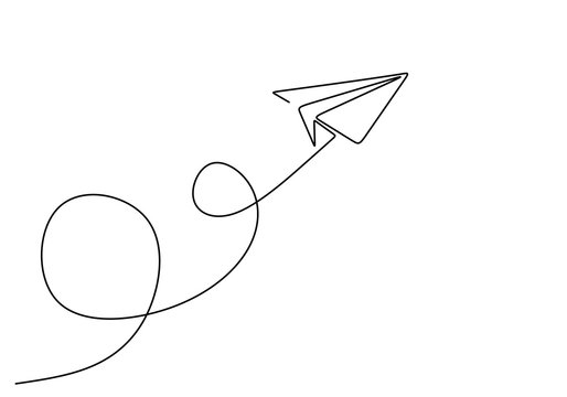 Continuous line drawing of paper airplane. Concept of plane flying symbol of creativity and freedom.