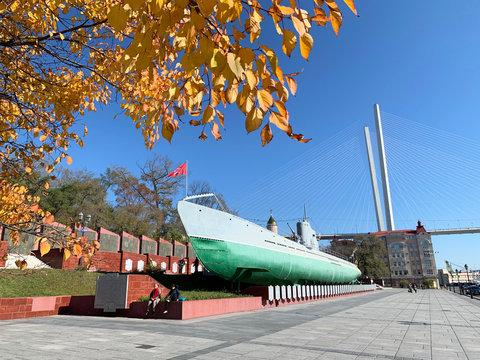 Vladivostok, Russia, October, 27, 2019.  Guards red banner submarine S-56 (Stalinets) in the Memorial complex on Karabelnaya embankment in Vladivostok