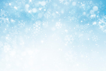 abstract winter sky background with snowflakes