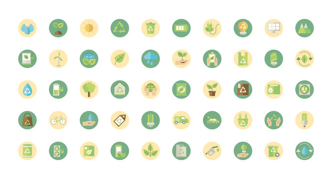 ecological green energy block icons collection
