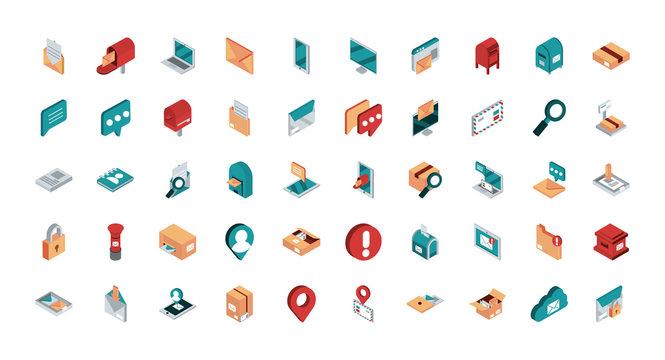 correspondence postal mail isometric icons set