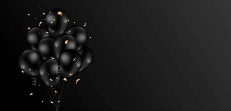 Black background design with dark shiny balloons bunch and glitter gold confetti. Vector illustration.