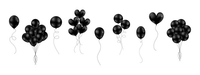 Big set of black shiny balloons different style isolated float on white background. Vector illustration.