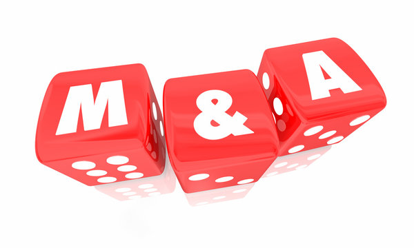 M&A Mergers and Acquisitions Roll Dice Take Chance 3d Illustration