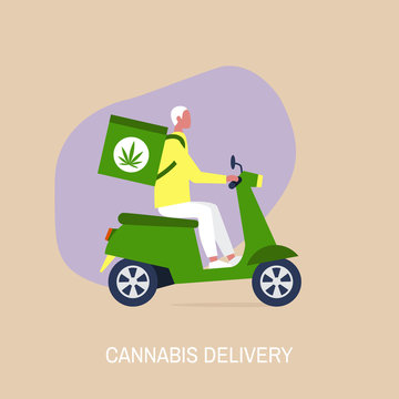 Cannabis delivery service, Young male courier with a large backpack riding a motor bike