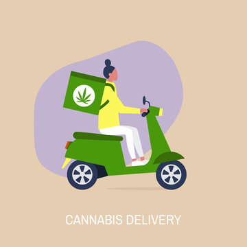 Cannabis delivery service, Young female courier with a large backpack riding a motor bike