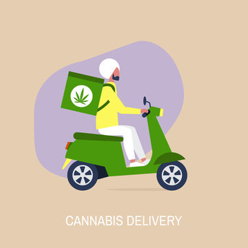 Cannabis delivery service, Young indian male courier with a large backpack riding a motor bike