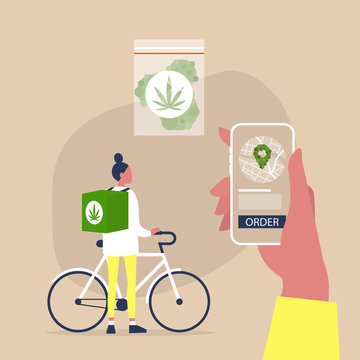 Mobile application for online cannabis delivery service, Young female courier with a large backpack riding a bike