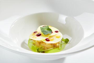 Exquisite Serving Scallop in Pesto Sauce with Mozzarella