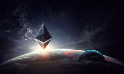 Crypto currency world. 3d rendering