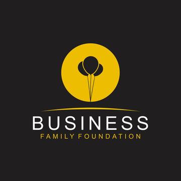 Ballon silhouette logo business family foundation, hope icon balloon simple minimalist design.