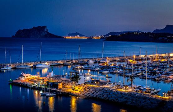 port of moraira at night