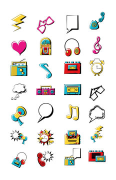 Variety 80s and 90s icon set pack vector design