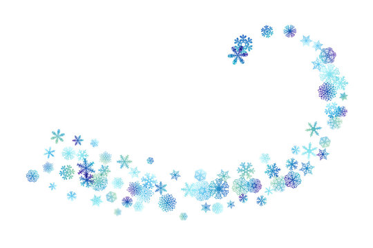 Curve line from flying snowflakes.