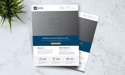 A4 minimalist modern elegant business template flayer vol 47 with blue, white and grey color cmyk ready to print in vector editable layer