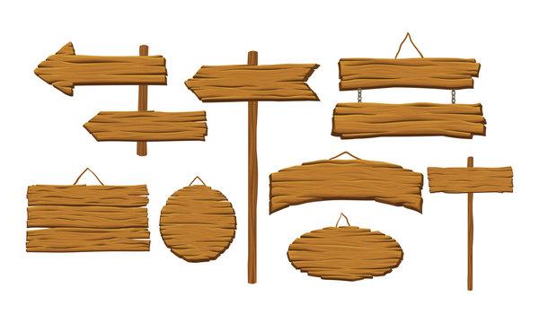 Wooden Indicators Vector Set. Rustic Road Sign Collection
