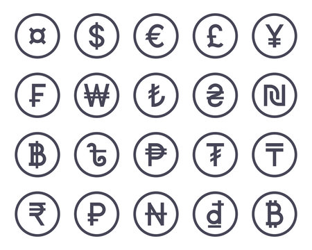 Currency symbol monochrome icons collection set. Vector illustration