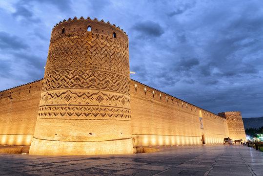 Gorgeous evening view of the Karim Khan Citadel, Shiraz, Iran