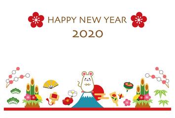 2020年 子年 年賀状 テンプレート