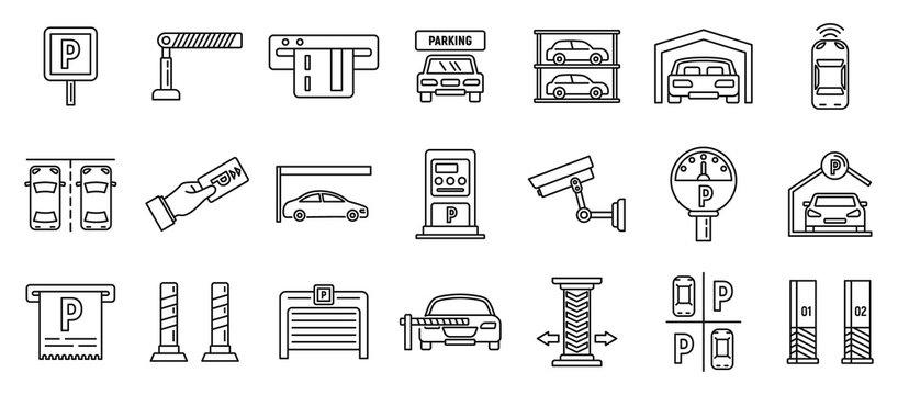 Underground parking garage icons set. Outline set of underground parking garage vector icons for web design isolated on white background