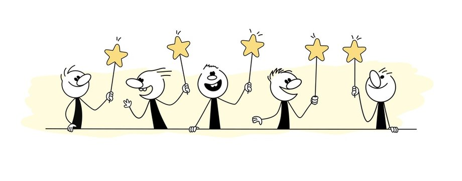 Doodle stick figure: Cartoon people holding hands symbols. Hand drawn vector illustration for business and school design.