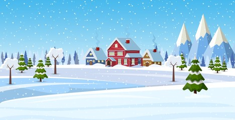 Fotobehang Blauw Christmas landscape background with snow and tree. Merry christmas holiday. New year and xmas celebration. Vector illustration in flat style