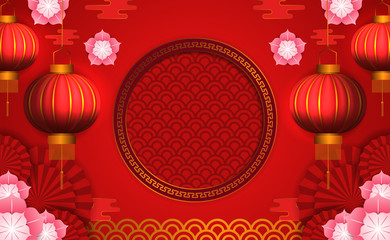 chinese new year. hanging red lantern. flower ornament and golden pattern